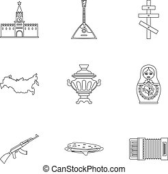 Holiday in Russia icons set, outline style - Holiday in...