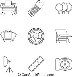 Photo icons set, outline style - Photo icons set. Outline...