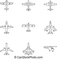 Combat aircraft icons set, outline style