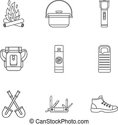 Hike icons set, outline style
