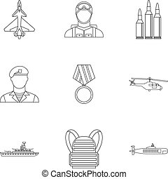 Military weapons icons set, outline style