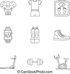 Classes in gym icons set, outline style - Classes in gym...