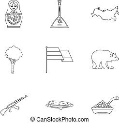 Tourism in Russia icons set, outline style - Tourism in...