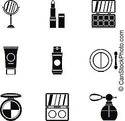 Cosmetics icons set, simple style