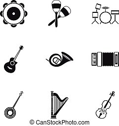 Musical device icons set, simple style