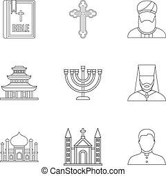 Religion icons set, outline style - Religion icons set....