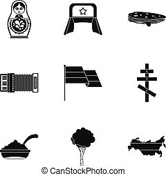 Holiday in Russia icons set, simple style - Holiday in...