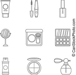 Cosmetic products icons set, outline style