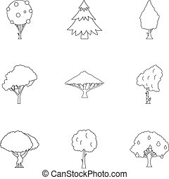 Woody plants icons set, outline style