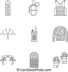 Shooting paintball icons set, outline style