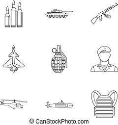 Military defense icons set, outline style