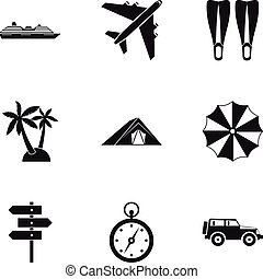 Trip to sea icons set, simple style