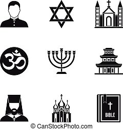 Religious faith icons set, simple style - Religious faith...