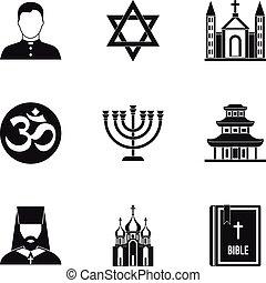 Religious faith icons set, simple style - Religious faith...