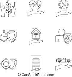 Assurance icons set, outline style - Assurance icons set....