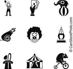 Concert in circus icons set, simple style - Concert in...