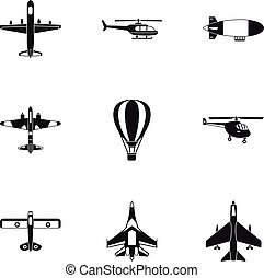Combat aircraft icons set, simple style