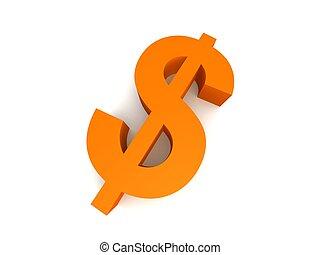dollar sign - 3d rendered illustration of a golden euro sign