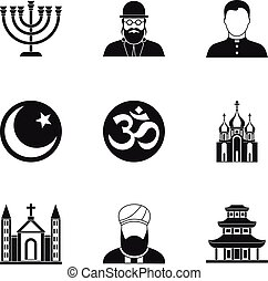 Beliefs icons set, simple style - Beliefs icons set. Simple...