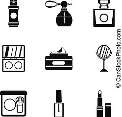 Beauty icons set, simple style