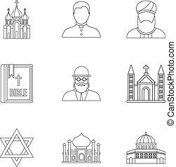Religious faith icons set, outline style - Religious faith...