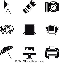 Photographic icons set, simple style - Photographic icons...