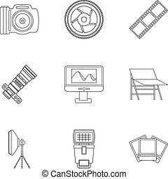 Photographing icons set, outline style - Photographing icons...