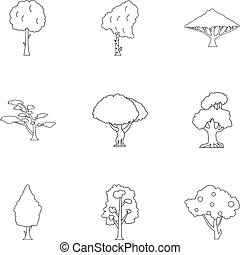 Kind of trees icons set, outline style - Kind of trees icons...