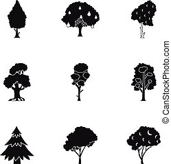 Kind of trees icons set, simple style - Kind of trees icons...