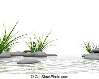 wellness - 3d rendered illustration of stones and green gras...