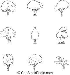 Types of trees icons set, outline style - Types of trees...