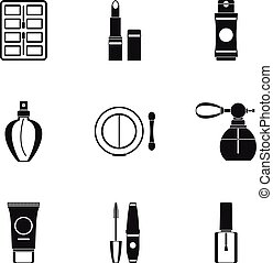 Cosmetic products icons set, simple style