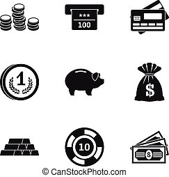 Bank icons set, simple style - Bank icons set. Simple...