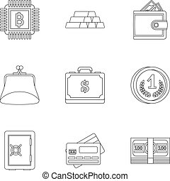 Bank icons set, outline style - Bank icons set. Outline...