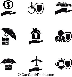 Insurance icons set, simple style - Insurance icons set....