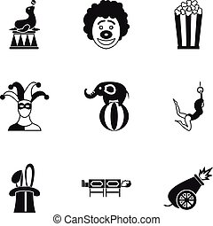 Circus performance icons set, simple style - Circus...