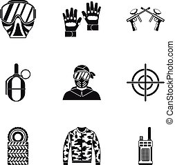 Competition paintball icons set, simple style - Competition...