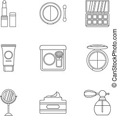 Makeup icons set, outline style