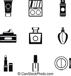 Makeup icons set, simple style