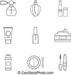 Beauty icons set, outline style - Beauty icons set. Outline...