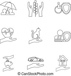 Insurance icons set, outline style - Insurance icons set....