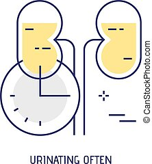 Urinating often. Modern thin line icon. Vector. - Urinating...