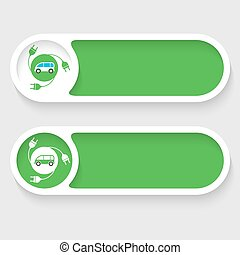 Set of two vector abstract buttons and icon of the electric car