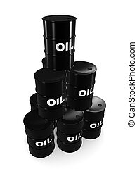 oil barrels - 3d rendered illustration of some black oil...