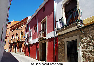 Colorful houses in the small town of Trujillo, Spain