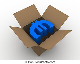 euro in a box - 3d rendered illustration of a blue euro sign...