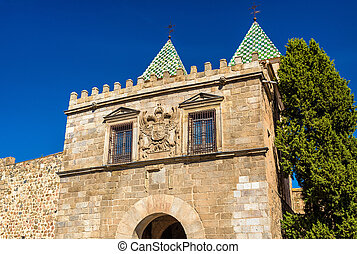 View of Puerta de Bisagra Nueva Gate in Toledo, Spain - View...