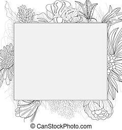 Doodle floral frame