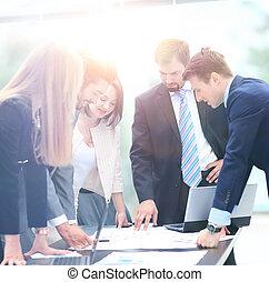 事務, 工作, 人們, 會議, 一起, 討論