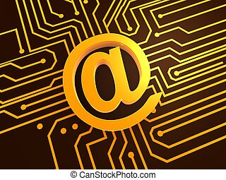 at sign - 3d rendered illustration of an internet sign on a...